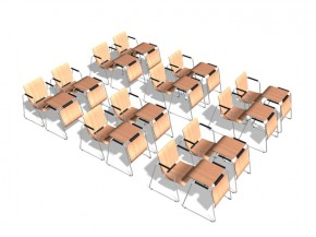SEATTABLE - stapelbarer Seminarstuhl und Seminartisch